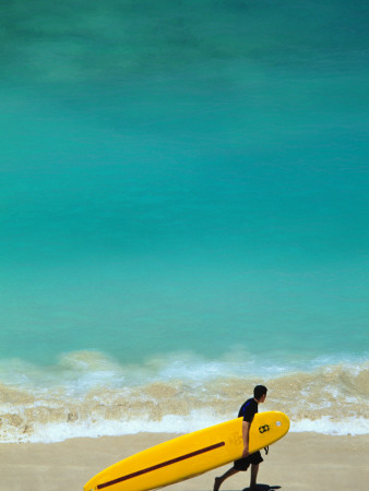 Boy with Yellow Surfboard at Waikiki Beach Photographic Print by Ann Cecil