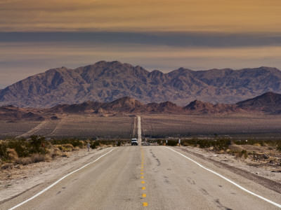 Route 66 Near Chambless with Marble Mountains in Distance, Mojave Desert Photographic Print by Witold Skrypczak