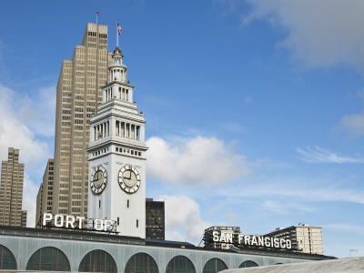 Port of San Francisco Sign and Ferry Building Clock Tower Photographic Print by Sabrina Dalbesio