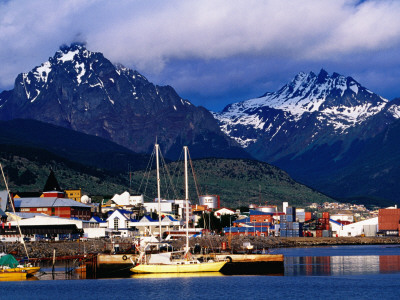 Yachts Docked on Waterfront, City and Mountains Photographic Print by Richard l'Anson