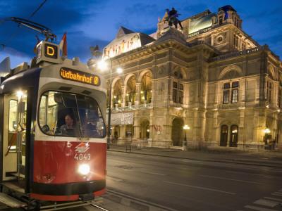 Tram Outside Statsoper (Opera House) at Opernring, Innere Stadt Photographic Print by Richard Nebesky