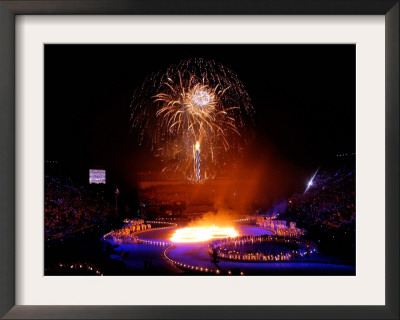 Fireworks Erupt During the Opening Ceremonies of the 2002 Winter Olympics in Salt Lake City Framed Photographic Print