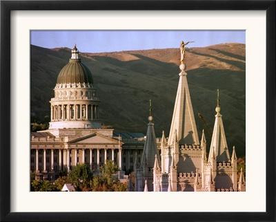 Sun Sets on Utah's Capitol Building Framed Photographic Print