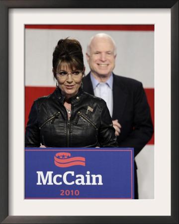 Sarah Palin Talks at a Campaign Rally for Senator John McCain at Pima County Fairgrounds in Tucson Framed Photographic Print