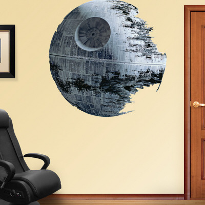 Death Star Fathead giant wall decal in a home office space on beige wall across from black office chair science fiction wall decor decoration