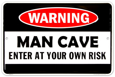 Man Cave Warning Placa de lata