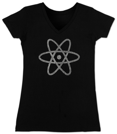 Juniors: V-Neck- Atom out of the Periodic Table T-Shirt