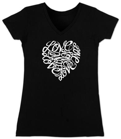 Juniors: V-Neck-  Love Heart in Cursive Script T-Shirt
