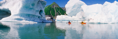 Kayakers in The Lake, Bear Glacier Lake, Kenai Fjords National Park, Alaska Wall Decal