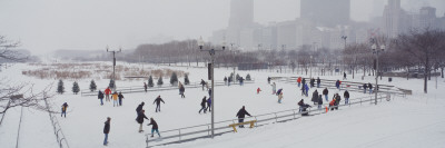 Group of People Ice Skating, Bicentennial Park, Chicago Wall Decal by  Panoramic Images