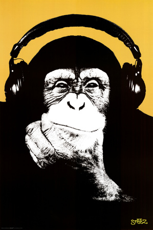 Steez-Headphone Monkey Affiche