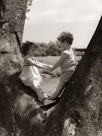 Boy and Girl Holding Hands Photographic Print by H. Armstrong Roberts