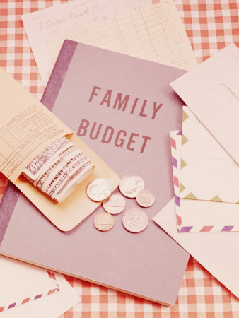 Family Budget Book, Payroll Envelope, Banknotes and Coins on Table Photographic Print by H. Armstrong Roberts