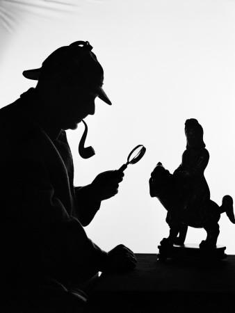 Silhouette of Man Wearing Deerstalker, Dressed As Sherlock Holmes Photographic Print by H. Armstrong Roberts