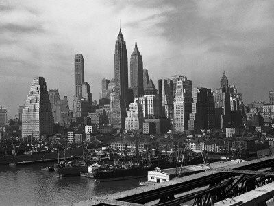 Manhattan New York City skyline black and white photo by George Marks