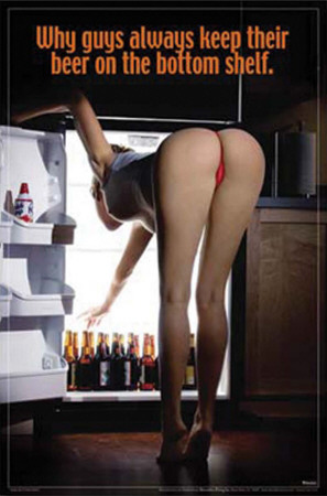 Sexy Girl Bending Over Beer On the Bottom Shelf Prints