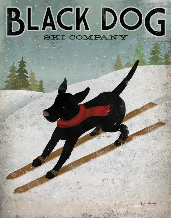Black Dog Ski Art Print