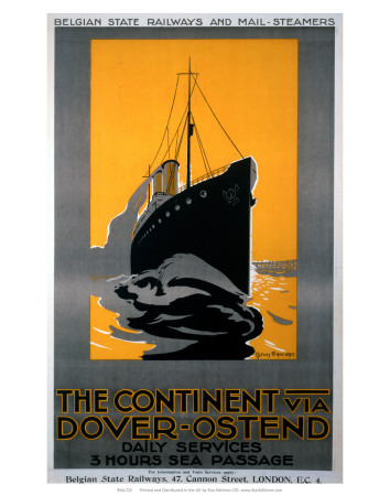 The Continent via Dover, Ostend, Belgian State Railways, c.1920s Posters by Alfons Marchant