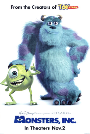 Monsters Inc Pixar Disney movie poster cover art; one of Disney's greatest movies of all time