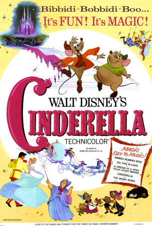 Cinderella vintage movie poster cover art; one of Disney's first animated movies and greatest films of all time