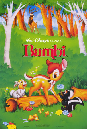 Bambi movie poster cover art; one of Disney's greatest movies of all time