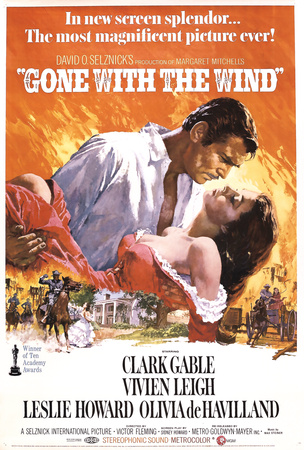 Gone with the Wind Clark Gable Vivien Leigh Leslie Howard Olivia de Hawilland vintage movie poster 1939