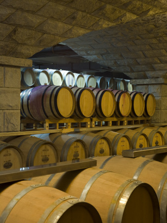 Barrels in Cellar at Chateau Changyu-Castel, Shandong Province, China Photographie