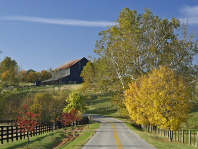 Rural Road Through Bluegrass in Autumn Near Lexington, Kentucky, USA Photographie