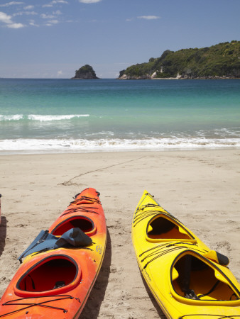 Kayaks on Beach, Hahei, Coromandel Peninsula, North Island, New Zealand Photographic Print by David Wall