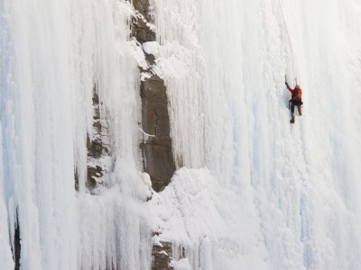 Ice Climber on Weeping Wall Above the Icefields Parkway, Banff National Park, Alberta, Canada Photographic Print by Don Grall