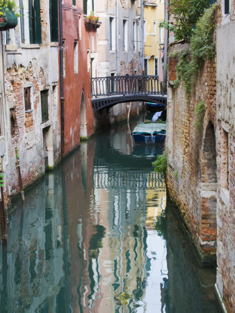 Reflections and Small Bridge of Canal of Venice, Italy Photographic Print by Terry Eggers