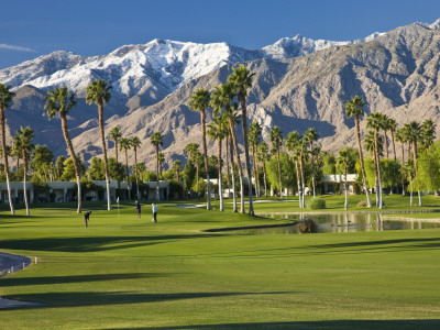 Desert Princess Golf Course and Mountains, Palm Springs, California, USA Photographic Print