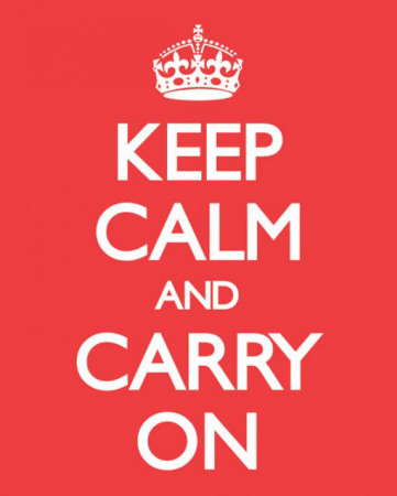 Keep Calm And Carry On (Red) Mini Poster
