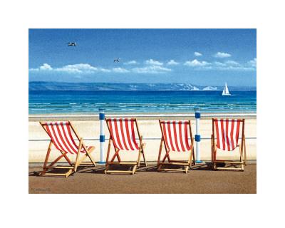 Four Red Deckchairs Poster by Margaret Heath