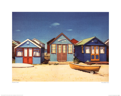 Three Beach Huts Prints by Margaret Heath