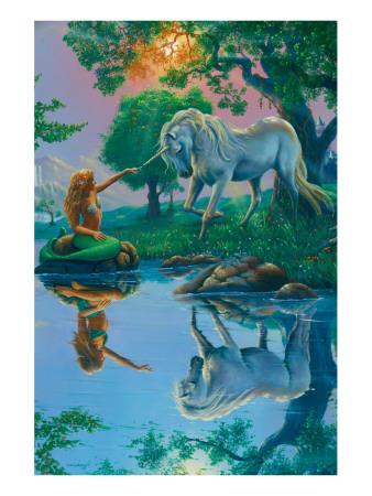 If I Were a Mermaid and You Were a Unicorn Premium Giclee Print by Jim Warren