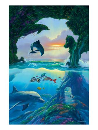 Seven Dolphins Premium Giclee Print by Jim Warren