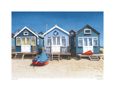 Blue Beach Huts Posters by Margaret Heath