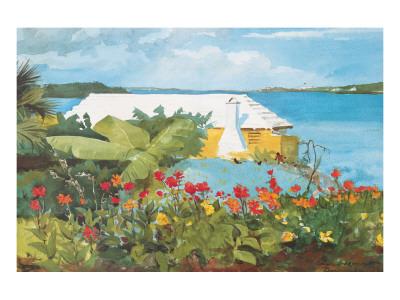Flower Garden and Bungalow, Bermuda, c.1899 Premium Giclee Print by Winslow Homer