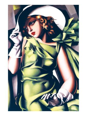 Junges Mädchen in Grün|Jeune Fille en Vert Giclée-Premiumdruck von Tamara de Lempicka