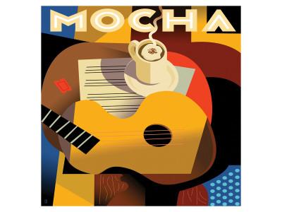 Cubist Mocha I Giclee-tryk i høj kvalitet