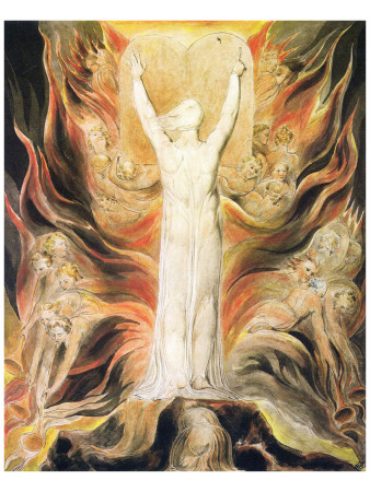 God Writing the Commandments Boards Premium Giclee Print by William Blake