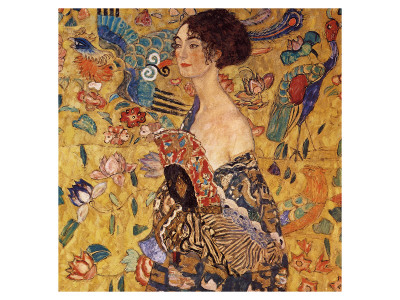 Lady with a Fan Premium Giclee Print by Gustav Klimt
