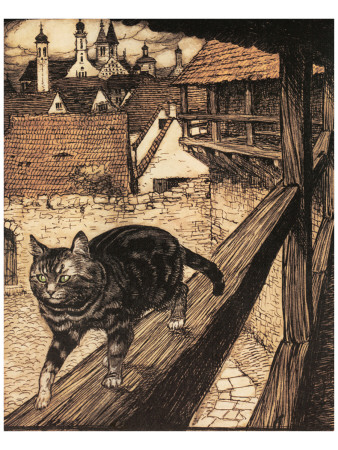 The Cat and Mouse in Partnership Premium Giclee Print by Arthur Rackham