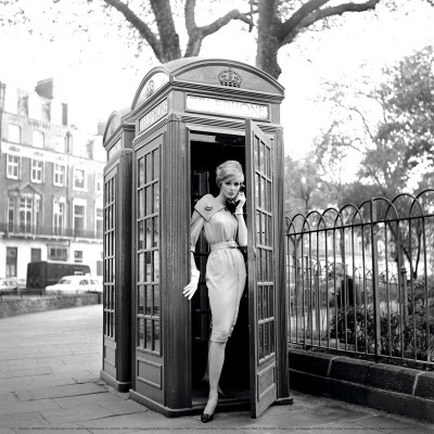 Lucinda in a Telephone Box, London, 1959 Art Print