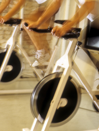 Cycling Spinning Class in Action Photographic Print