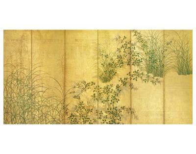 Japanese Autumn Grasses, Six-Fold Screen, Early Edo Period Premium Giclée-tryk
