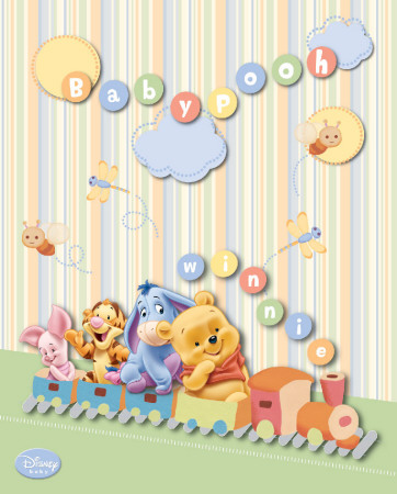 Disney Baby Pooh Train Mini-affiche