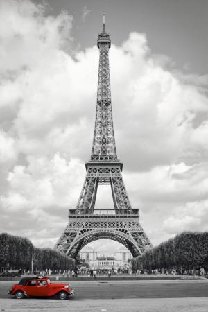 Paris, röd bil Posters