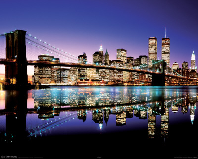 Brooklyn Bridge New York Night bridge lights reflecting, popular college travel destination